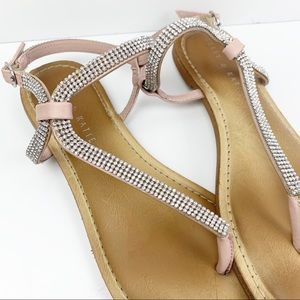 Kelly & Katie Shoes - Kelly & Katie Pink Strap Sparkling Sandals